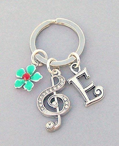 - Personalized Music Key Ring with Treble Clef, Flower, Initial Charm, Unisex Musician Gift