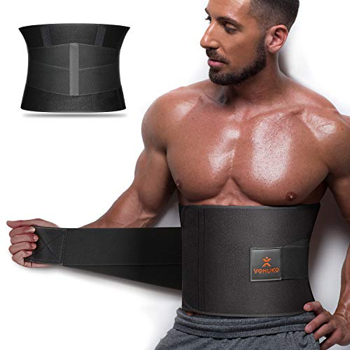 VOHUKO Waist Trimmer for Men,Wide Waist Trainer Sweat AB Belt with Dual Compression Mesh Straps and Back Support for Weight Loss (XL/ 37-49 inchs)