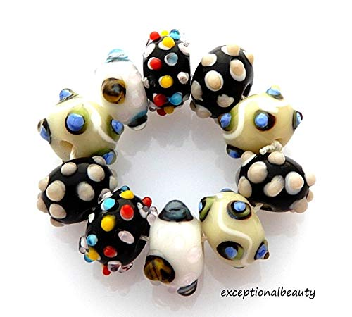 10 Assorted White Black Red Lampwork Bumpy Sputnick Rondelle Art Glass Beads