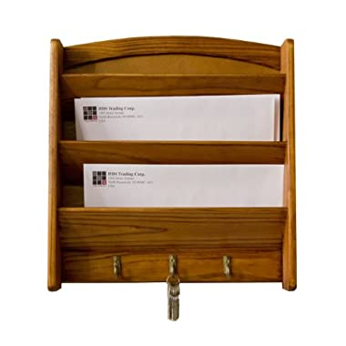 Home Basics Pine Letter Rack with Key Hooks