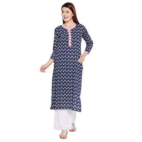 Tissu Women's Indigo Botanical Printed Straight Kurta 54 Blue