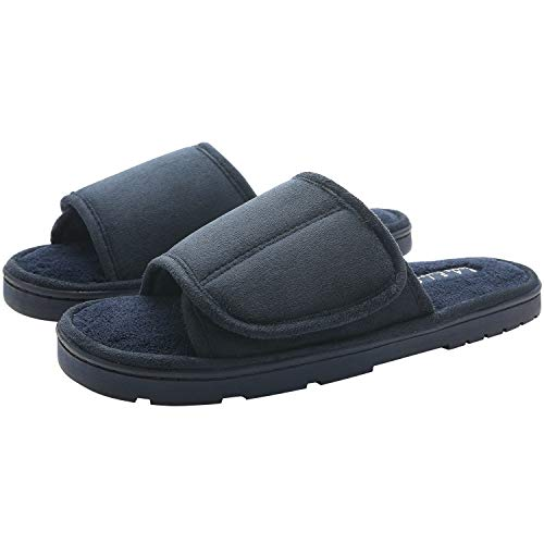 KOCOTA Mens Open-Toe Terry Adjustable Spa Slide Slippers with Memory Foam for Indoor/Outdoor Comfort