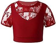 Loodgao Kids Girls Dance Crop Top Cutout Running Yoga Ballet Gymnastics Tops Athletic Tee Shirts Activewear