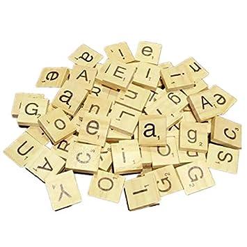 XZANTE 100 Letras del Alfabeto de Madera Scrabble Azulejos Negros Y Números por Artesanía Madera-Negro: Amazon.es: Juguetes y juegos