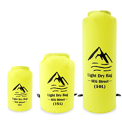SEG Direct Waterproof Light Dry Bag for Kayaking, Canoeing, Water Sports, Snowboarding, Skiing, Winter Sports, Hiking, Camping, Backpacking, Outdoor Activities - 5L / 15L / 30L from SEG Direct