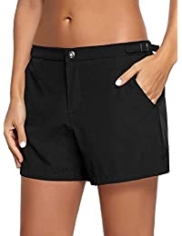 022a00310c Women's Casual Lace Up Elastic Waist Swimsuit Bottom Beach Board Shorts