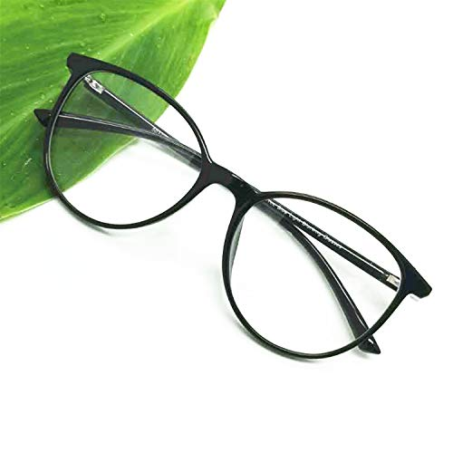 Computer Reading Glasses Blue Blocking Light Weight Round Women Anti Eye Strain (Black, 0.75)