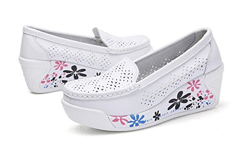 Shoes Sports set Ladies Womens Lightweight Shoes Wedges Tennis adil Walking Mesh Toning Shoes Rocker Platform Shoes Soft Slip on White Fitness rIYHnr1