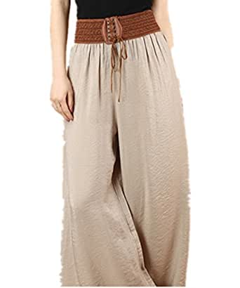 R REIFENG Womens High Waist Leisure Long Wide Leg Pants (XXL, light coffee)