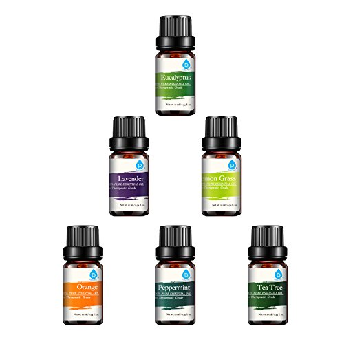 Pursonic-100-Pure-Essential-Aromatherapy-Oils-Gift-Set-6-Pack-10MLEucalyptus-Lavender-Lemon-grass-Orange-Peppermint-Tea-Tree