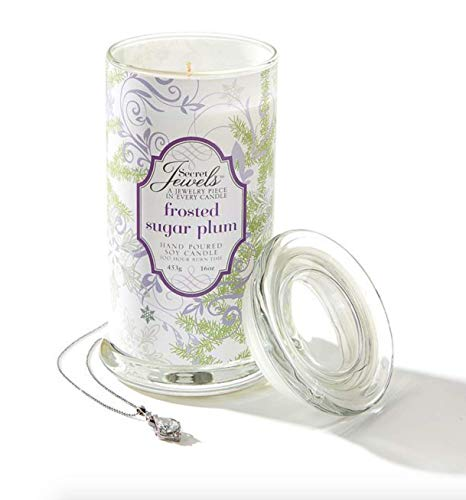 Giftcraft Christmas Winter Holidays Secret Jewels 16 oz Hand Poured Soy Candle Jar, Frosted Sugar Plum
