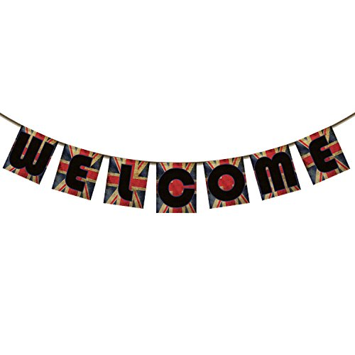 Welcome Banner Bunting for Family Party Decoration Photo Props, UK British flag Flag Background Spray color Banner Garland Flag for $<!--$13.99-->