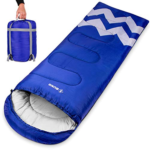 Ebung Sleeping Bag for Cold Weather – Envelope Portable Ideal for Winter, Summer, Spring, Fall – Outdoor Camping, Hiking, Traveling-Adults,Kids,Boys,Girls-Lightweight Waterproof Washable (Blue)