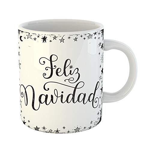 Emvency Coffee Tea Mug Gift 11 Ounces Funny Ceramic Feliz Navidad Translated From Spanish Merry Christmas Lettering in Doodle Stars Gifts For Family Friends Coworkers Boss Mug ()