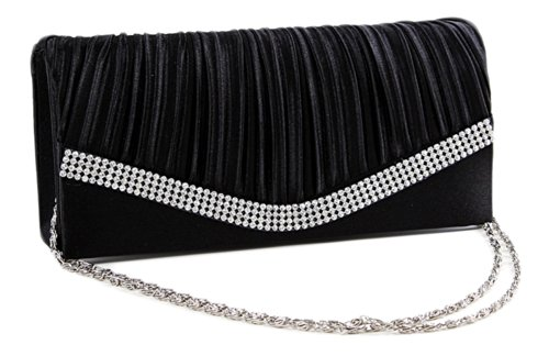 Chicastic Black Pleated Satin Wedding Evening Bridal Clutch Purse With Rhinestones (Evening Pleated Bag)