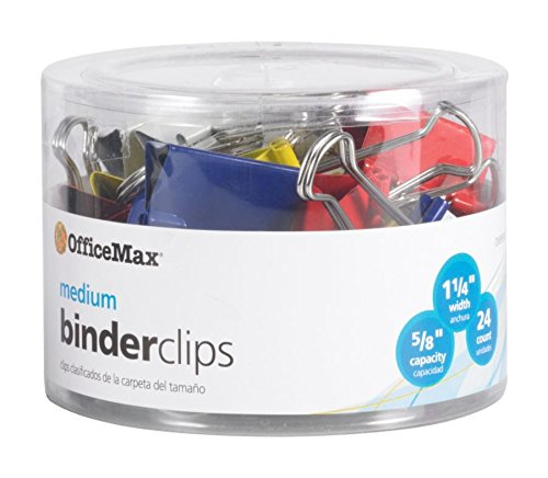 OfficeMax Brand Binder Clips, Medium, Multicolored, Pack of 24