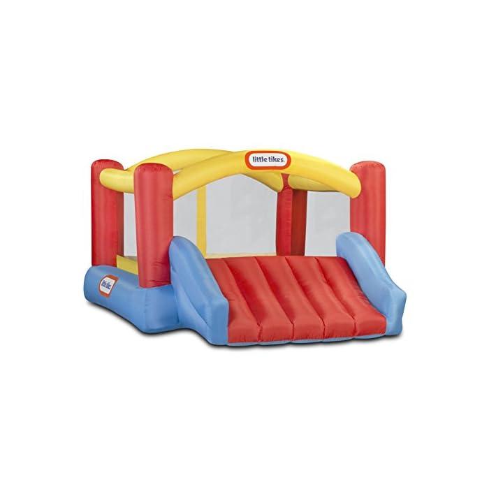 41ZUNnrIj8L Los niños pueden saltar, deslizarse y rebotar en este inflable inflable de Little Tikes Jump 'n Slide Bouncer. Un divertido diseño de casa hinchable ofrece una gran área para varios niños y un divertido tobogán. El Jump'n Slide Bouncer se infla en minutos y se pliega de forma compacta para un fácil almacenamiento.