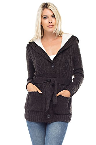 Betsy Red Couture Women's Cable Soft Sweater Cardigan with Hood (L, Hethear Charcoal)