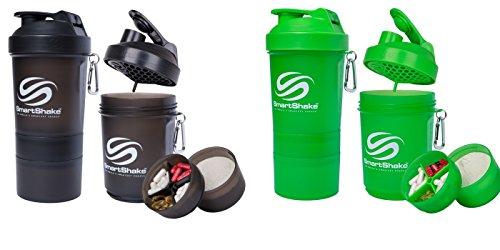 SmartShake Shaker Cup, Gunsmoke & Neon Green, 20 oz (2 Pack)