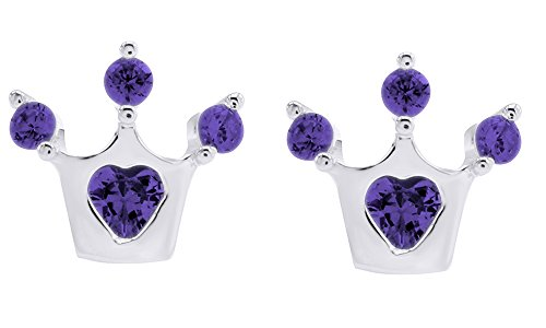 Christmas Sale Crown Stud Earrings In 925 Sterling Silver Round Cut Simulated Alexandrite ()