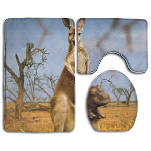 Funny Kangaroo Hippo Soft Comfort Flannel Fashion Bathroom Rug Mats Set 1101 Piece Anti-Skid Pads Bath Mat