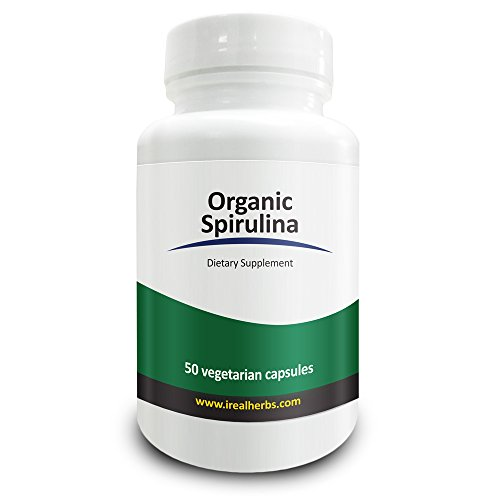 5 000 Mg Powder (Real Herbs Organic Spirulina 750mg – Also Known as Blue Green Algae Powder – Highest Dosage Per Cap on Amazon, Supports Immune Function, Improves Overall Health – 50 Vegetarian Capsules)