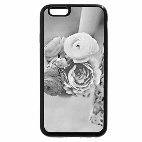 iPhone 6S Case, iPhone 6 Case (Black & White) - Girl holding flowers