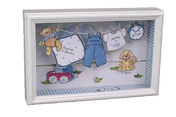 Amazon Com Welcome New Baby Boy Clothesline Keepsake Shadow Box