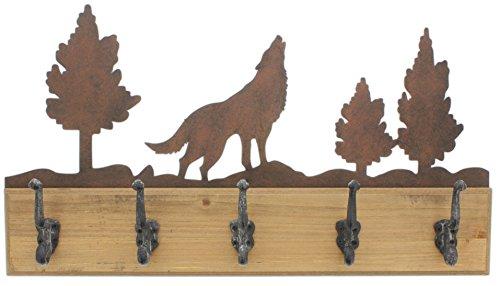 Distinctive Designs 5 Hook Coat Hanger Howling Wolf Design by Distinctive Designs