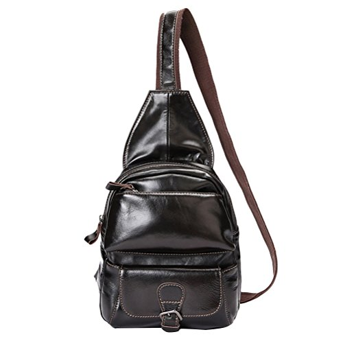 Zhhlinyuan Accesorio para hombre Mens Soft Waterproof Brown Satchel First Layer Of Cowhide Leather Shoulder Chest Bag Multi-pockets Black