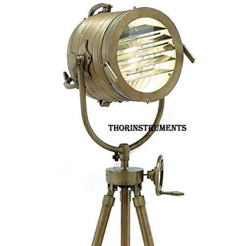 Vintage Designs 78'' Aluminum Searchlight Adjustable Tripod Floor Lamp - Brass Finish Industrial Nautical Floor Lamp