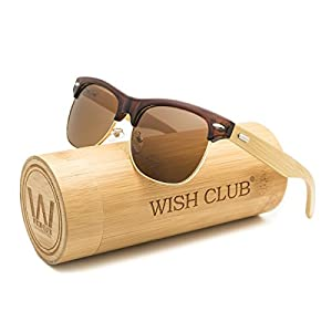 WISH CLUB Half Frame Handmade Wood Temple Square Wayfarer Sunglasses UV Lenses Club Master Classical Style for Women and Men Adults Wooden Bamboo Vintage Light Retro Sun Glasses with Box (Brown)