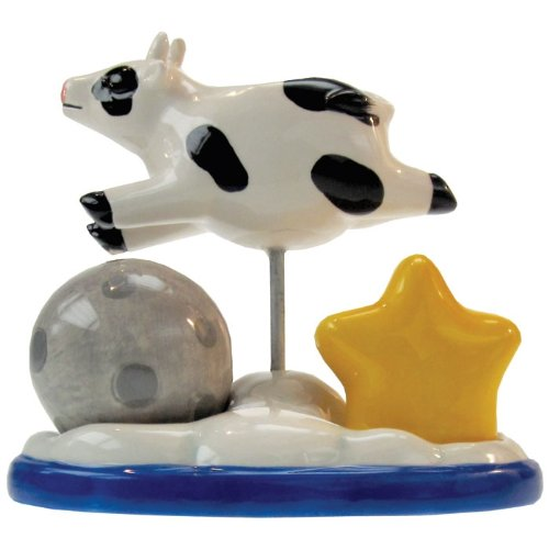 (Westland Giftware Mwah Over The Moon Magnetic Ceramic Salt and Pepper Shaker with Toothpick Holder Set, 4.5-Inch)