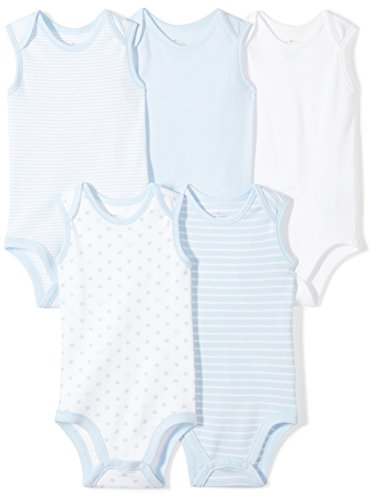 Moon and Back Baby Set of 5 Organic Sleeveless Bodysuits, Blue Sky, Newborn