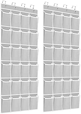 Kootek Over The Door Shoe Organizers 12 Mesh Pockets 6 Large Mesh Storage Various Compartments Hanging Shoe Holder Collection with 4 Hooks Shoes Organizer for Bathroom Closet Bedroom 59 x 21.6 in