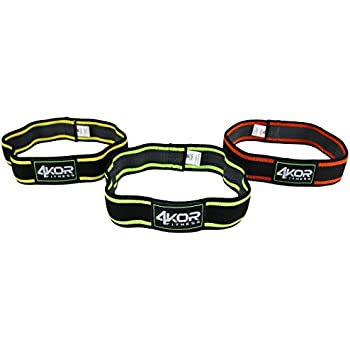 2 inch Hip Bands by 4KOR Fitness, Set of 3 (Grippy/Medium)