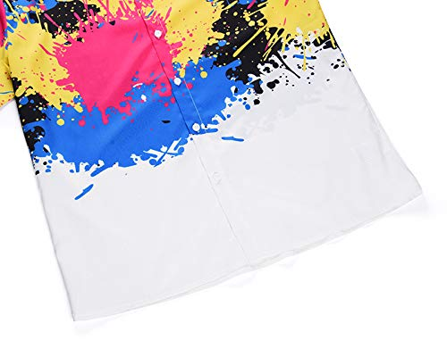 PIZOFF Mens Print Casual Button Down Short Sleeve Dress Shirt