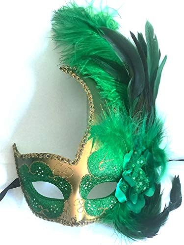 Storm Buy] Women Lady Girls Costume Venetian mask Feather Masquerade Mask Halloween Mardi Gras Cosplay Party Masque (Green) ()