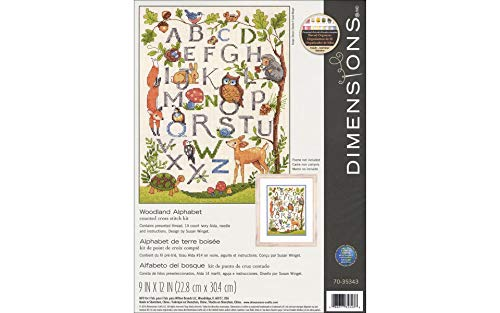 Dimensions Woodland Alphabet Counted Cross Stitch Kit for Beginners, 14 Count Ivory Aida Cloth, 9'' x 12'' ()