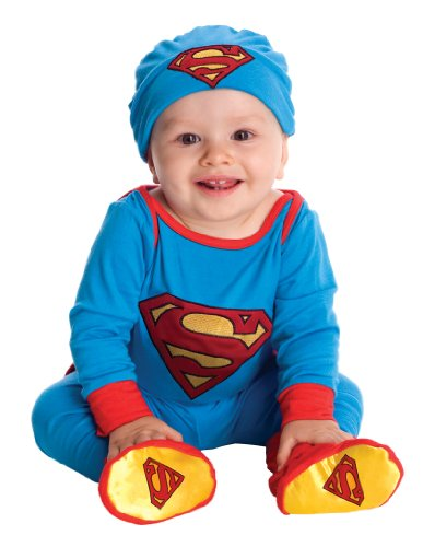 Superman Newborn Costumes (DC Comics Superman Onesie And Headpiece, Blue, Newborn)