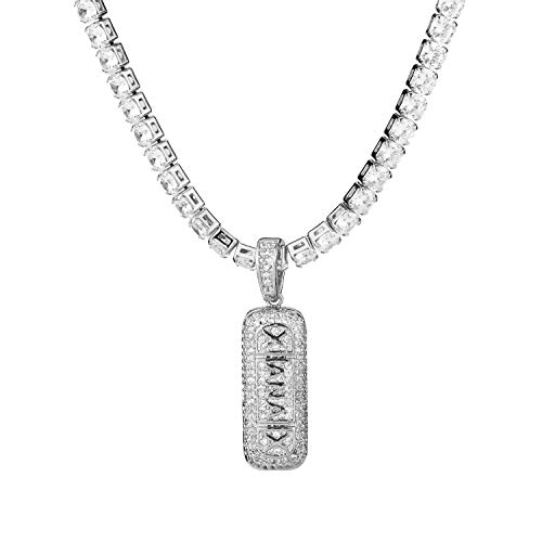 Mady Hip Hop Jewellery 18K Gold Plated CZ Fully Iced-Out Bling Bling Xanax Necklace (Silver, CZ Chain) from Mandy