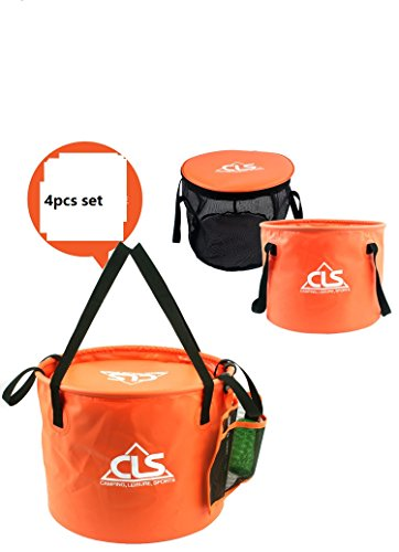 Idealgo Folding 4 pcs 8 Gallon Portable Compact Collapsible Bucket with Mesh Basket and Mesh Pocket 220ML Plastic Bottle for Camping,Fishing,Picnic,Car