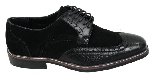 Mens Negro Brown Suede y Serpiente Brogues Leather Shoes Gatsby Vintage negro