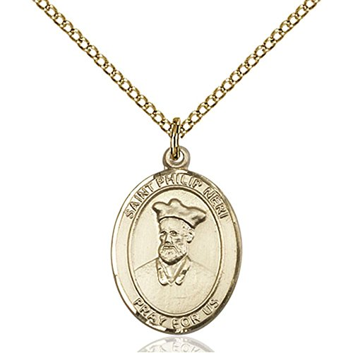 Philip Neri Pendant - Gold Filled St. Philip Neri Pendant 3/4 x 1/2 inches with Gold-Filled Lite Curb Chain