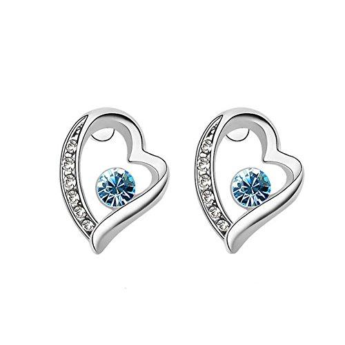 Joyfulshine Womens Crystal Earring Studs 18K Gold Plated Heart Earrings