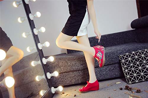 Bordado Zapatos Bordados Zapatos Oxford Gules de Merceditas Alpargatas Zapatos Suave Mujer de Fondo SRqHrSw