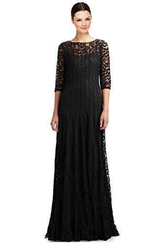 Sleeve Pintuck Dress - Teri Jon Lace Pintuck 3/4 Sleeve Evening Gown Dress