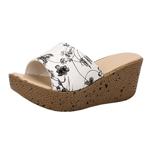 - Women Platform Wedges Mule Mid Heel Open Toe Slides Sandals Floral Black 40 - Size 8.5