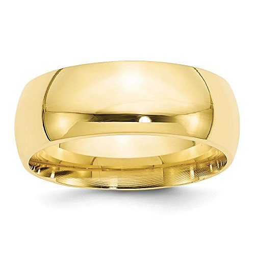 10k Yellow Gold 8mm Standard Comfort Fit Band Size 5.5 by Saris and Things