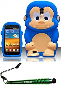 FoxyCase(TM) FREE stylus AND Samsung Epic Touch 4G D710 Galaxy S2 (Sprint Boost) - Monkey Style 3D Silicon Case Baby Blue SCMK Desire Silicone Skin Phone Protector cas couverture